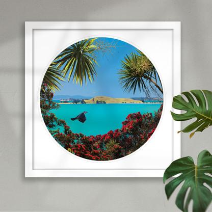 Brown's Island and Pohutukawa circular beach scene - framed art print