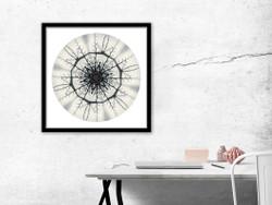 Kowhaiwhai Mandela - circular NZ art print, in black frame