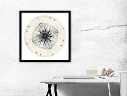 Tui Mandela - circular NZ art print in black frame