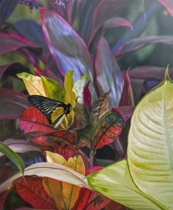 A lush tropical vibrant foliage print with leaves and buttefly - oval photo art print / wall art for sale