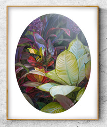 ''Solitude'' a lush tropical vibrant foliage print with buttefly.  A3 oval photo prints for sale.