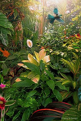 NZ Tui bird in tropical  garden setting - photo art print / wall art for sale