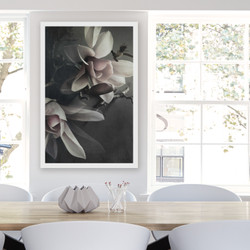 ''MAGNOLIA 2'' XL white box framed photo art flower print