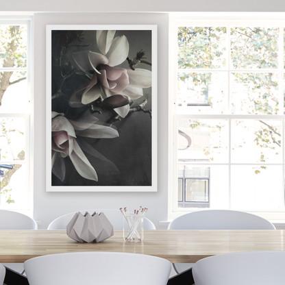 ''MAGNOLIA 2'' XL white box framed photo art flower print