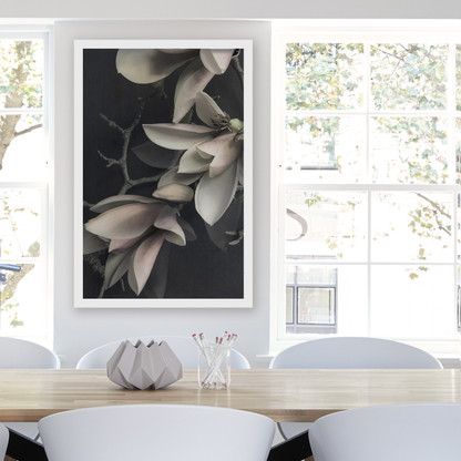 ''MAGNOLIA 3'' XL white box framed photo art flower print