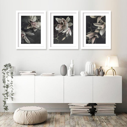 Set of 3 Magnolia flower dark floral white framed art prints