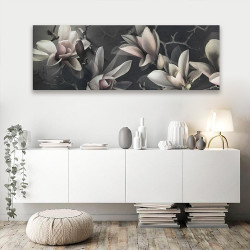 Magnolia dark floral wall art canvas