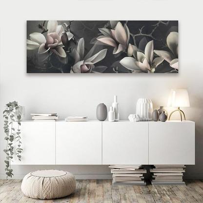 Magnolia dark floral wall art canvas