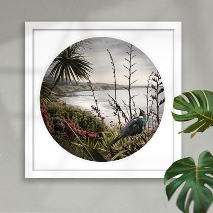 NZ Tui bird (white framed) round wall art print