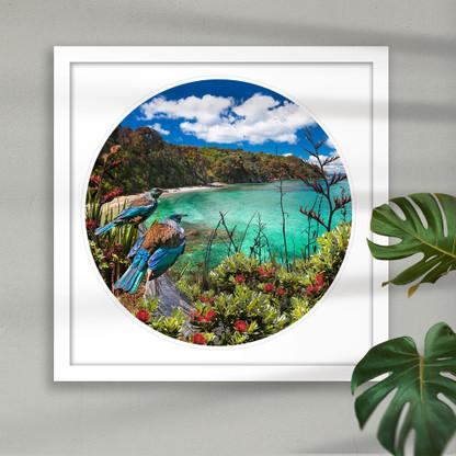 NZ Tui circular / round art print in white frame