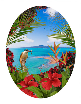 ''KINGFISHER REEF' - TROPICAL NZ BIRD & LANDSCAPE OVAL PHOTO WALL ART PRINT