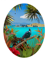 'TUI'S TEMPLE' - TROPICAL NZ BIRD & LANDSCAPE OVAL PHOTO WALL ART PRINT