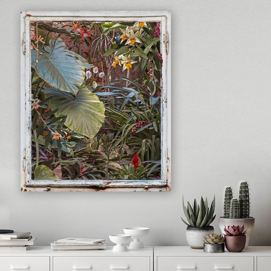 'ENCHANTED GARDEN' Tui botanical print (glass wall art or canvas print)