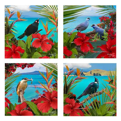 NZ landscape and bird ceramic art tile coasters