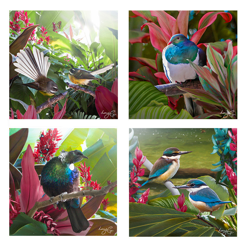 NZ birds - set of 4 ceramic wall art tiles 15x15cm