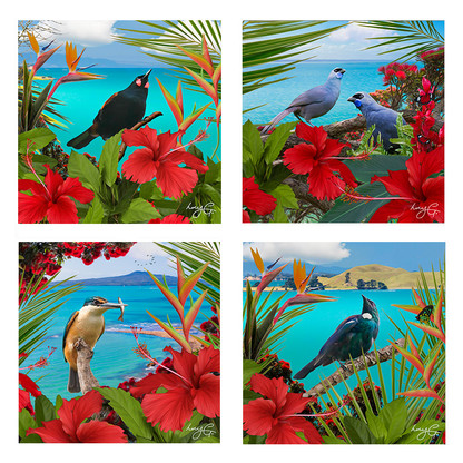 NZ landscape and bird ceramic wall art tiles