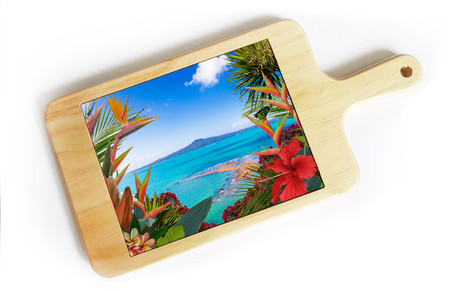 ''Tropical View'' (Rangitoto) NZ art cheeseboard / breadboard