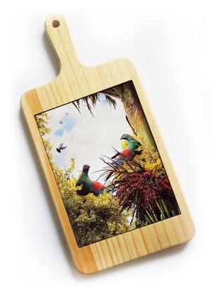 """'""""Birds of a Feather'' Kereru NZ art cheeseboard / breadboard"""