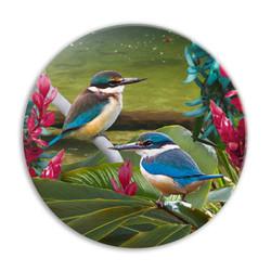 'Harmony'' NZ Kingfisher circular ceramic wall art tile 20cm diameter