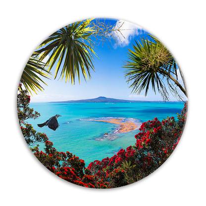 'Tui Vista'' NZ Wood Pigeon circular ceramic wall art tile 20cm diameter