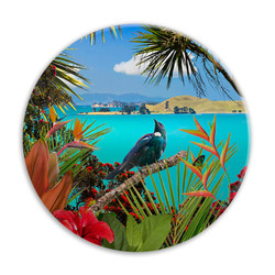 'Tui's Temple' NZ landscape circular ceramic wall art tile 20cm diameter
