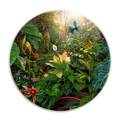 'Earthly Delights' NZ landscape circular ceramic wall art tile 20cm diameter