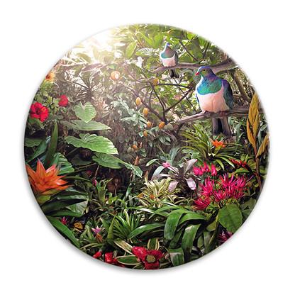'Temptation' NZ landscape circular ceramic wall art tile 20cm diameter