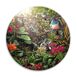 'Temptation' NZ landscape circular ceramic wall art tile 20cm diameter