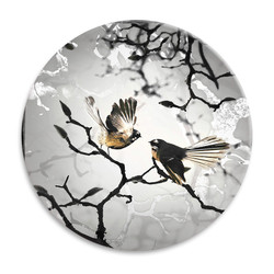 'Fantail Family' NZ landscape circular ceramic wall art tile 20cm diameter