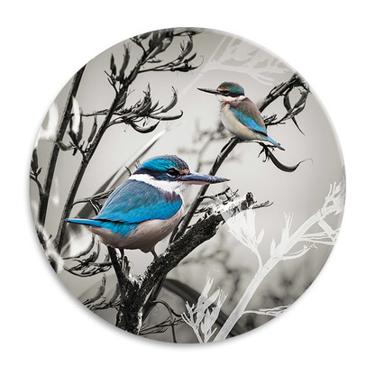 'Sacred Guardians' NZ landscape circular ceramic wall art tile 20cm diameter