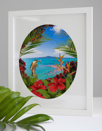 'KINGFISHER REEF' - A3 / FRAMED TROPICAL NZ BIRD & LANDSCAPE OVAL PHOTO WALL ART PRINT