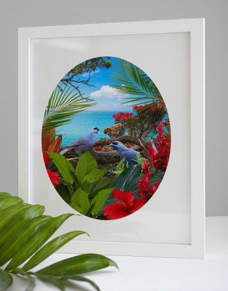 ''KOKAKO'S CALL' - A3 / FRAMED NZ BIRD & LANDSCAPE OVAL PHOTO WALL ART PRINT