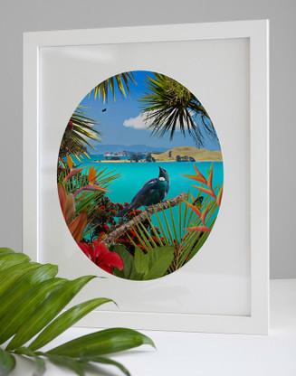 'TUI'S TEMPLE' - A3 / FRAMED  NZ BIRD & LANDSCAPE OVAL PHOTO WALL ART PRINT