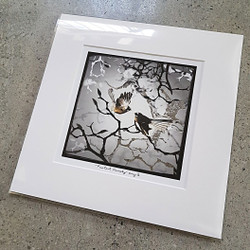 'FANTAIL FAMILY'  - UNFRAMED SILVER FOIL WALL ART PRINT