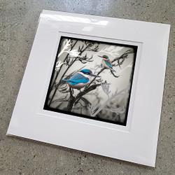 Kereru / Kingfisher silver foil art print