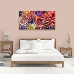 ''Dahlia Dance'' -  horizontal canvas wall art