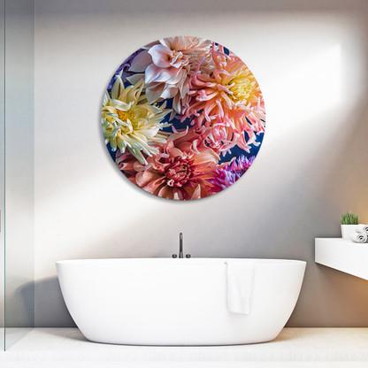 ''Sea of Dreams'' circular aluminium frameless bathroom artwork