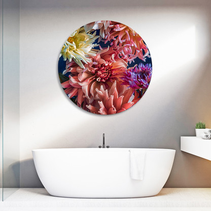 ''Beauty in Bloom'' (DAHLIAS) - circular aluminium bathroom wall art