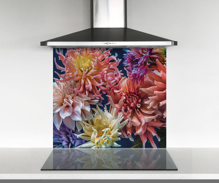Dahila flower printed glass photo splashback