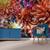 ''Dahlia Dance'' printed wallpaper mural