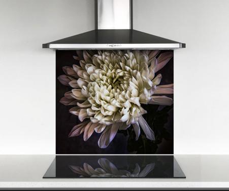 900x750mm size Chrysanthemum flower printed glass photo splashback