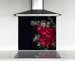 900x750mm Scarlet red peony photo glass DIY splashback
