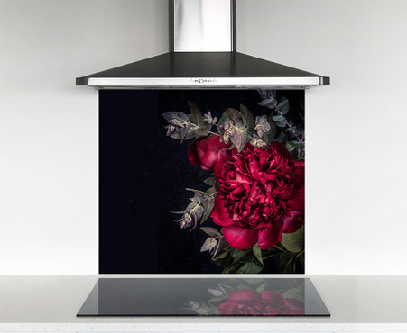 900x750mm Scarlet red peony photo glass DIY splashback