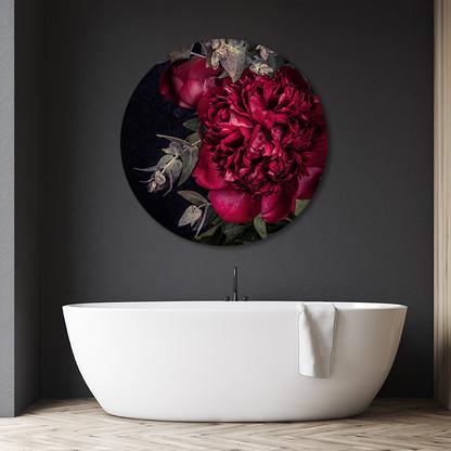 ''Scarlet Peony 1'' circular aluminium bathroom art
