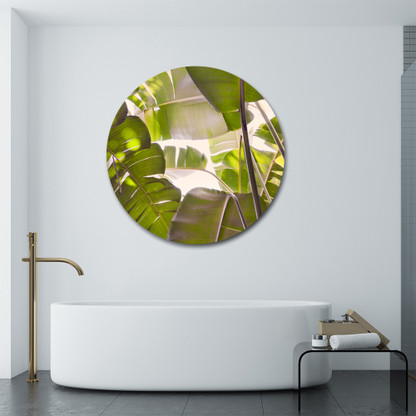Banana Palm tropical circular bathroom glass / aluminium artwork