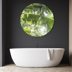 Tropical rainforest circular aluminium or glass bathroom / outdoor art.