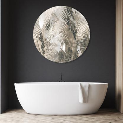 Tropical resort palm circular aluminium / bathroom artwork