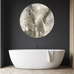 Tropical resort palm circular aluminium / bathroom artwork