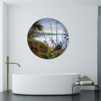 Stunning NZ Tui circular frameless glass or aluminium bathroom art