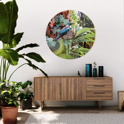 Tui & succulents circular frameless glass or aluminium wall art
